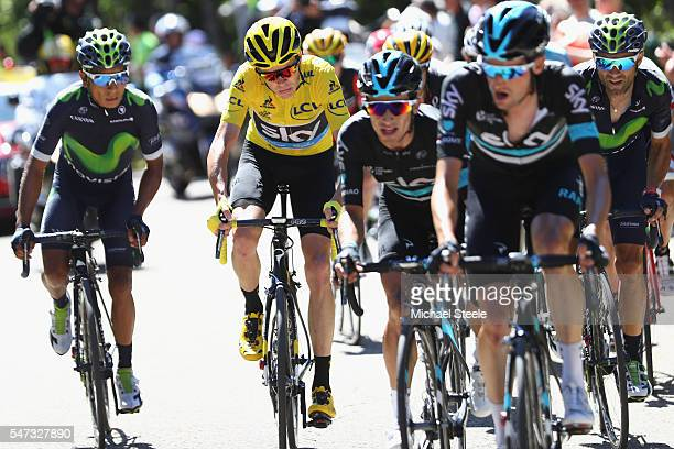 Chris Froome of Great Britain alongside Nairo Quintana of Colombia and Movistar on the climb to Mont Ventoux during the 12th stage of Le Tour de...