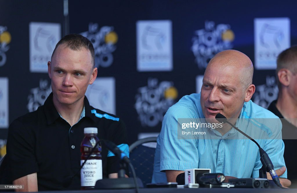 <a gi-track='captionPersonalityLinkClicked' href=/galleries/search?phrase=Chris+Froome&family=editorial&specificpeople=5428054 ng-click='$event.stopPropagation()'>Chris Froome</a> of Great Britain and SKY Procycling and Team Principal of Team SKY Sir <a gi-track='captionPersonalityLinkClicked' href=/galleries/search?phrase=Dave+Brailsford&family=editorial&specificpeople=3000000 ng-click='$event.stopPropagation()'>Dave Brailsford</a> attend the Team Sky Press Conference ahead of the 2013 Tour de France on June 27, 2013 in Porto Vecchio, France. The 100th Tour de France starts on Saturday from Porto Vecchio in Corsica and finishes on July 21 in Paris.