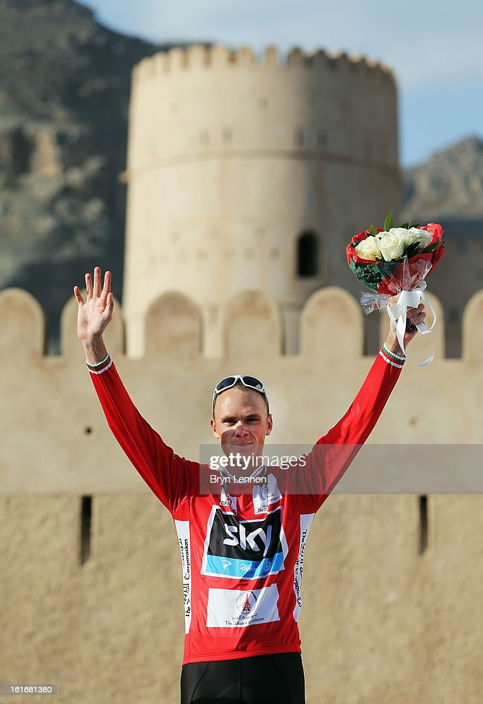 <a gi-track='captionPersonalityLinkClicked' href=/galleries/search?phrase=Chris+Froome&family=editorial&specificpeople=5428054 ng-click='$event.stopPropagation()'>Chris Froome</a> of Great Britain and SKY Procycling celebrates taking the overall race lead after finishing second on stage four of the 2013 Tour of Oman from Al Saltiyah in Samail to Jabal Al Akhdhar (Green Mountain) on February 14, 2013 in Jabal Al Akhdhar, Oman.