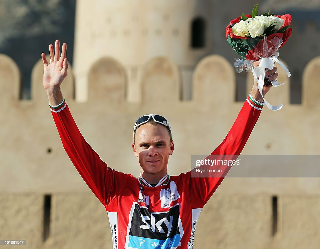Chris Froome of Great Britain and SKY Procycling celebrates taking the overall race lead after finishing second on stage four of the 2013 Tour of Oman from Al Saltiyah in Samail to Jabal Al Akhdhar (Green Mountain) on February 14, 2013 in Jabal Al Akhdhar, Oman.