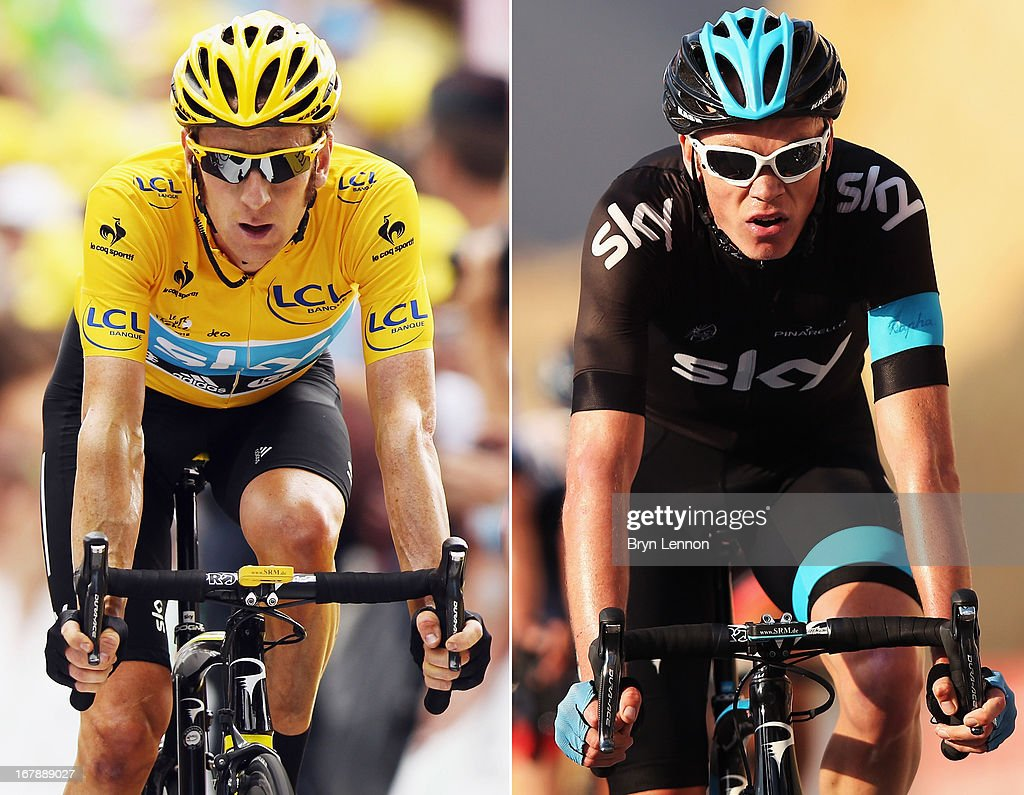 In this composite image a comparison has been made between Sir <a gi-track='captionPersonalityLinkClicked' href=/galleries/search?phrase=Bradley+Wiggins&family=editorial&specificpeople=182490 ng-click='$event.stopPropagation()'>Bradley Wiggins</a> (L) and Christopher Froome of Team SKY Procycling and Great Britain. Original image IDs are 148288512 (L) and 161618502. WADI DAYQAH DAM, OMAN - FEBRUARY 13: <a gi-track='captionPersonalityLinkClicked' href=/galleries/search?phrase=Chris+Froome&family=editorial&specificpeople=5428054 ng-click='$event.stopPropagation()'>Chris Froome</a> of Great Britain and SKY Procycling crosses the finishline on stage three of the 2013 Tour of Oman from Nakhal Fort to Wadi Dayqah Dam on February 13, 2013 in Wadi Dayqah Dam, Oman.