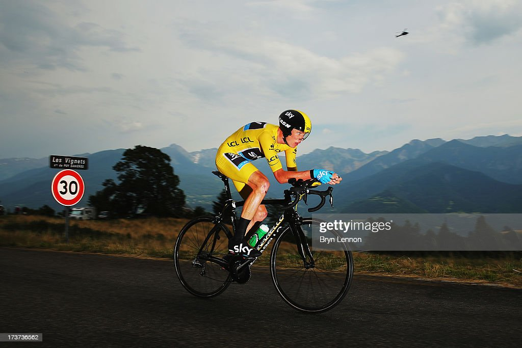 <a gi-track='captionPersonalityLinkClicked' href=/galleries/search?phrase=Chris+Froome&family=editorial&specificpeople=5428054 ng-click='$event.stopPropagation()'>Chris Froome</a> of Great Britain and SKY Procycling in action during stage seventeen of the 2013 Tour de France, a 32KM Individual Time Trial from Embrun to Chorges, on July 17, 2013 in Chorges, France.