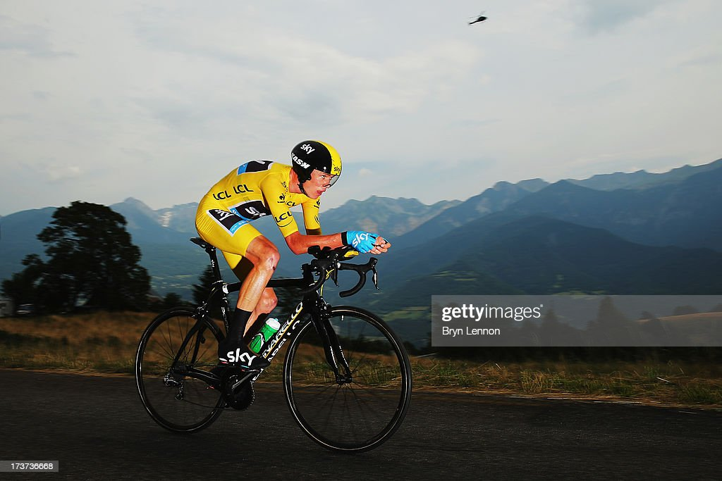 Chris Froome of Great Britain and SKY Procycling in action during stage seventeen of the 2013 Tour de France a 32KM Individual Time Trial from Embrun...