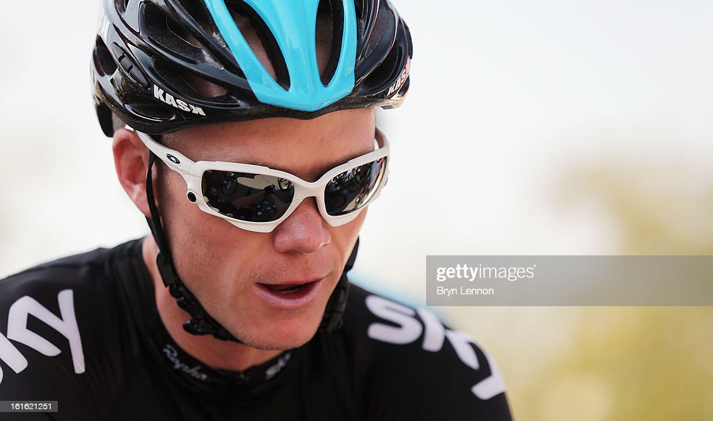 Chris Froome of Great Britain and SKY Procycling looks on a the start of stage three of the 2013 Tour of Oman from Nakhal Fort to Wadi Dayqah Dam on February 13, 2013 in Nakhal Fort, Oman.