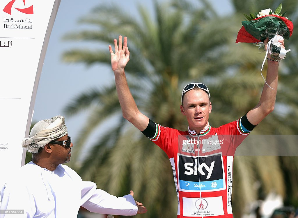 Chris Froome of Great Britain and SKY Procycling retained his leaders red jersey after winning stage five of the Tour of Oman from Al Alam Palace to the Ministry of Housing in Boshar on February 15, 2013 in Boshar, Oman.