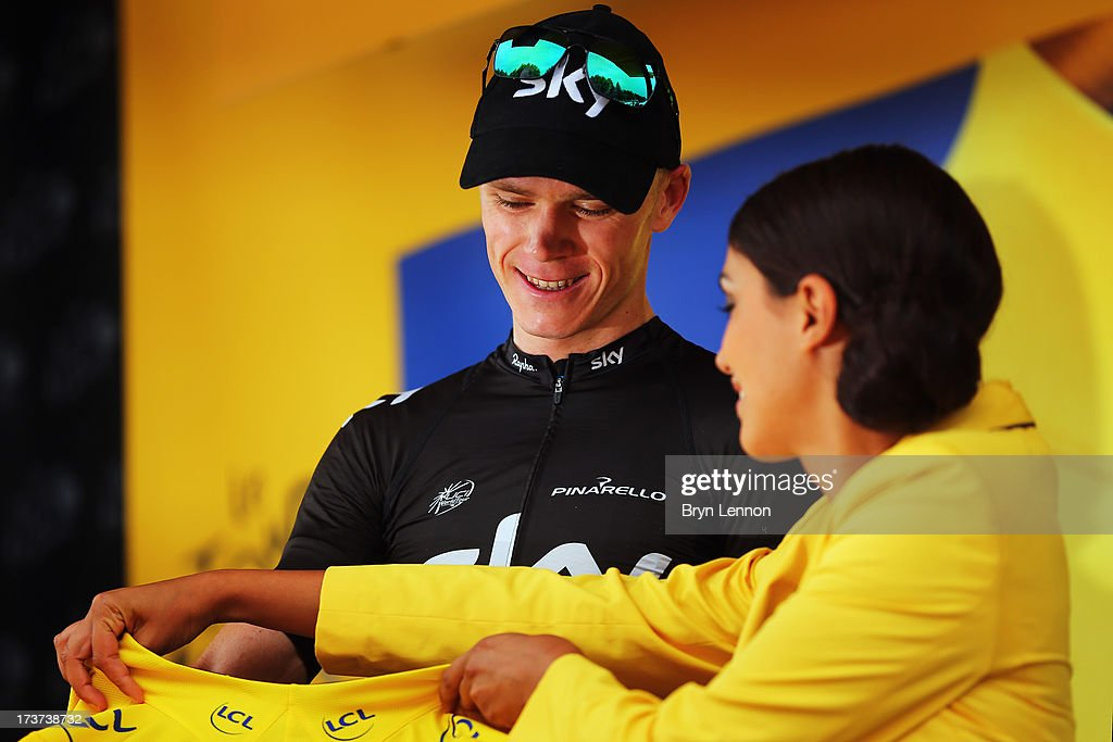 <a gi-track='captionPersonalityLinkClicked' href=/galleries/search?phrase=Chris+Froome&family=editorial&specificpeople=5428054 ng-click='$event.stopPropagation()'>Chris Froome</a> of Great Britain and SKY Procycling retained his yellow jersey after stage seventeen of the 2013 Tour de France, a 32KM Individual Time Trial from Embrun to Chorges, on July 17, 2013 in Chorges, France.