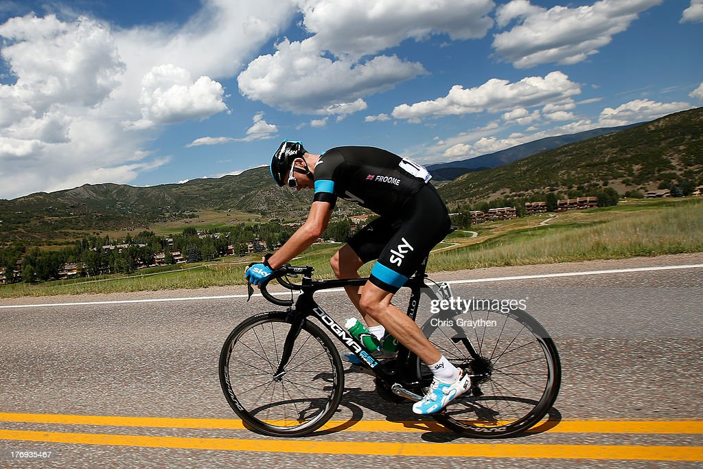 <a gi-track='captionPersonalityLinkClicked' href=/galleries/search?phrase=Chris+Froome&family=editorial&specificpeople=5428054 ng-click='$event.stopPropagation()'>Chris Froome</a> of Great Britain and Sky Procycling rides during stage one of the USA Pro Cycling Challenge on August 19, 2013 in Aspen, Colorado.
