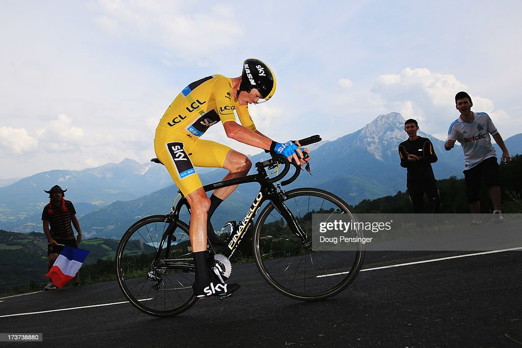 <a gi-track='captionPersonalityLinkClicked' href=/galleries/search?phrase=Chris+Froome&family=editorial&specificpeople=5428054 ng-click='$event.stopPropagation()'>Chris Froome</a> of Great Britain and SKY Procycling rides on his way to finishing first during stage seventeen of the 2013 Tour de France, a 32KM Individual Time Trial from Embrun to Chorges, on July 17, 2013 in Chorges, France.