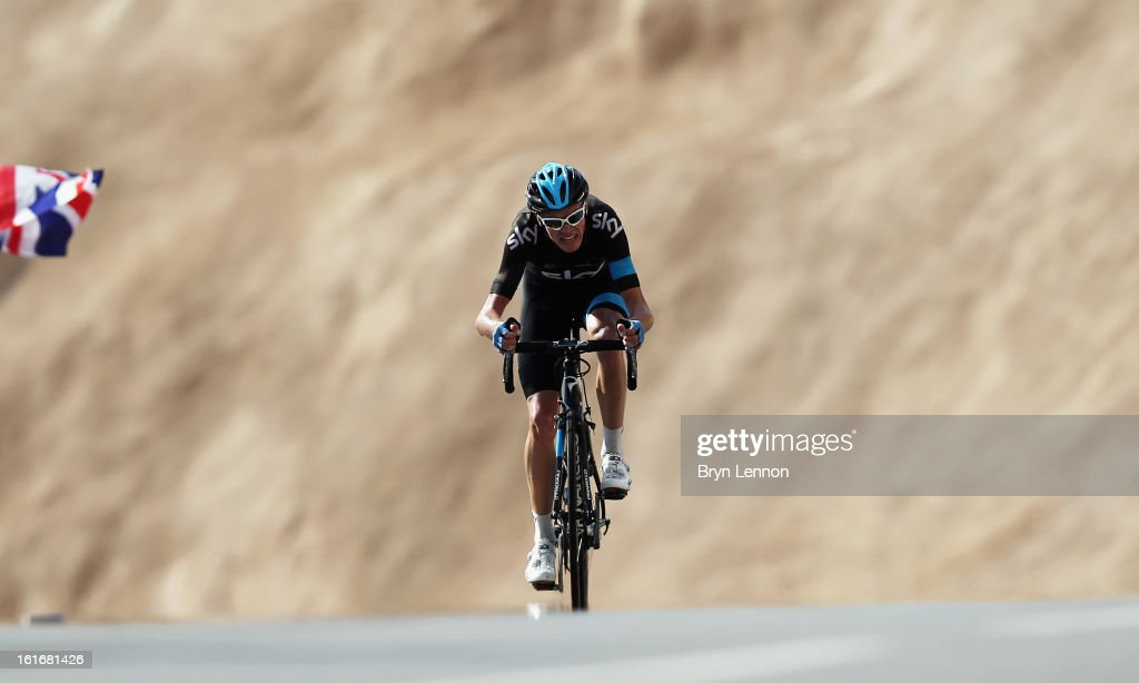 <a gi-track='captionPersonalityLinkClicked' href=/galleries/search?phrase=Chris+Froome&family=editorial&specificpeople=5428054 ng-click='$event.stopPropagation()'>Chris Froome</a> of Great Britain and SKY Procycling rides up Green Mountain on stage four of the 2013 Tour of Oman from Al Saltiyah in Samail to Jabal Al Akhdhar (Green Mountain) on February 14, 2013 in Jabal Al Akhdhar, Oman. Froome finished second on stage to take the overall race lead.