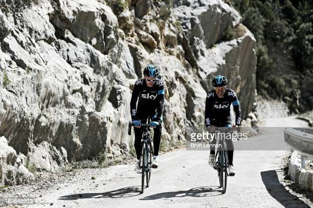 Chris Froome of Great Britain and SKY Procycling rides with team mate Richie Porte of Australia in the hills above Monaco on March 16 2013 in Monaco...