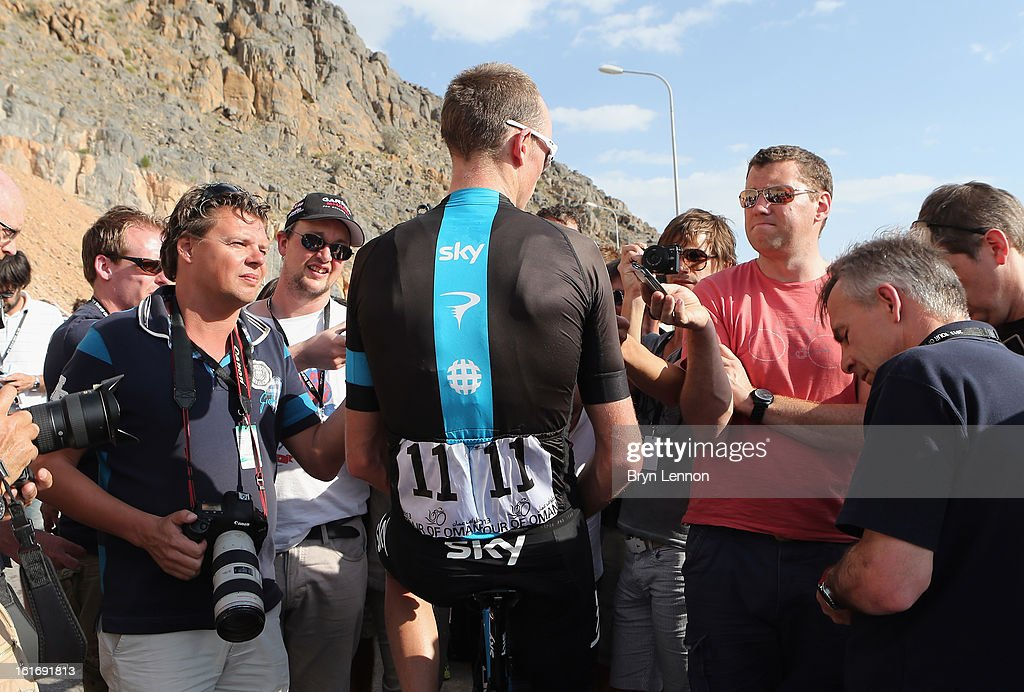 <a gi-track='captionPersonalityLinkClicked' href=/galleries/search?phrase=Chris+Froome&family=editorial&specificpeople=5428054 ng-click='$event.stopPropagation()'>Chris Froome</a> of Great Britain and SKY Procycling talks to journalits after taking the overall race lead on stage four of the 2013 Tour of Oman from Al Saltiyah in Samail to Jabal Al Akhdhar (Green Mountain) on February 14, 2013 in Jabal Al Akhdhar, Oman.