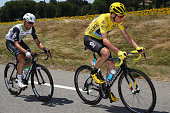 Chris Froome of Great Britain and Team Dimension Data tracked by eventual stage winner Mark Cavendish of Great Britain and Team Dimension Data durng...
