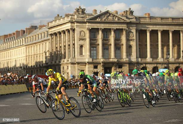 Chris Froome of Great Britain and Team Sky and the peloton cycle past during stage twenty one of the 2016 Le Tour de France from Chantilly to Paris...