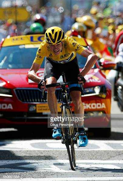 Chris Froome of Great Britain and Team Sky approaches the finish line to win stage ten of the 2015 Tour de France a 167 km stage between Tarbes and...