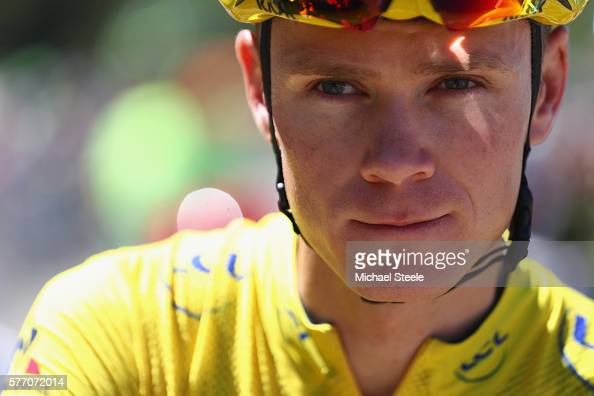 Chris Froome of Great Britain and Team Sky at the starting line ahead of the 209 kms stage 16 of Le Tour de France from MoiransEnMontagne to Berne on...