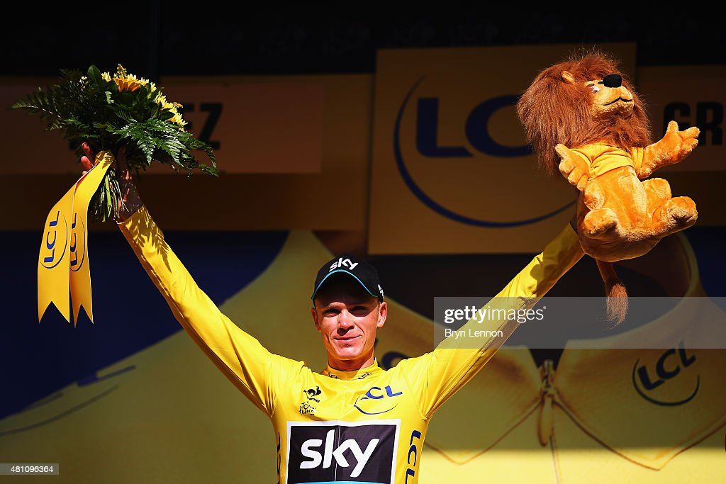 <a gi-track='captionPersonalityLinkClicked' href=/galleries/search?phrase=Chris+Froome&family=editorial&specificpeople=5428054 ng-click='$event.stopPropagation()'>Chris Froome</a> of Great Britain and Team Sky celebrates after retaining the overall leader's yellow jersey after stage thirteen of the 2015 Tour de France, a 198.5 km stage between Muret and Rodez, on July 17, 2015 in Rodez, France.