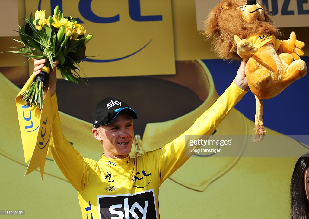 <a gi-track='captionPersonalityLinkClicked' href=/galleries/search?phrase=Chris+Froome&family=editorial&specificpeople=5428054 ng-click='$event.stopPropagation()'>Chris Froome</a> of Great Britain and Team Sky celebrates after retaining the overall leader's yellow jersey at the end of stage 14 during the 2014 Tour de France, a 187.5km stage from Rodez to Mende, on July 18, 2015 in Mende, France.