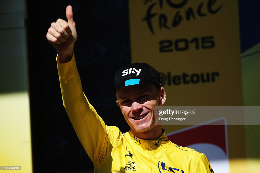 <a gi-track='captionPersonalityLinkClicked' href=/galleries/search?phrase=Chris+Froome&family=editorial&specificpeople=5428054 ng-click='$event.stopPropagation()'>Chris Froome</a> of Great Britain and Team SKY celebrates after retaining his overall leaders yellow jersey after the twentieth stage of the 2015 Tour de France, a 110.5 km stage between Modane Valfrejus and L'Alpe d'Huez on July 25, 2015 in L'Alpe d'Huez, France.