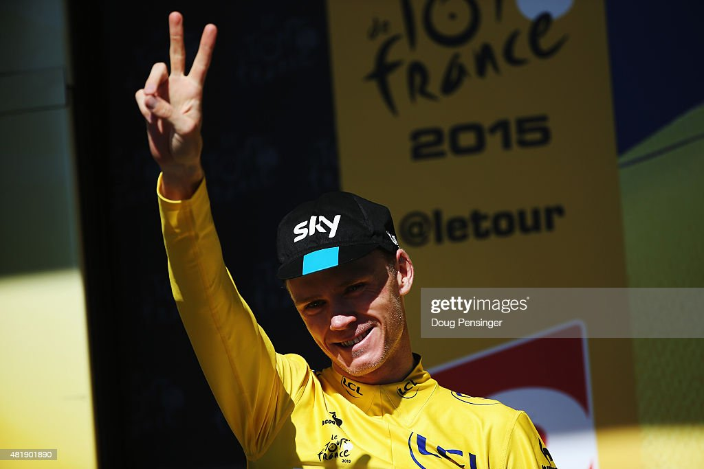 L'ALPE D'HUEZ, FRANCE - JULY 25: <a gi-track='captionPersonalityLinkClicked' href=/galleries/search?phrase=Chris+Froome&family=editorial&specificpeople=5428054 ng-click='$event.stopPropagation()'>Chris Froome</a> of Great Britain and Team SKY celebrates after retaining his overall leaders yellow jersey after the twentieth stage of the 2015 Tour de France, a 110.5 km stage between Modane Valfrejus and L'Alpe d'Huez on July 25, 2015 in L'Alpe d'Huez, France.