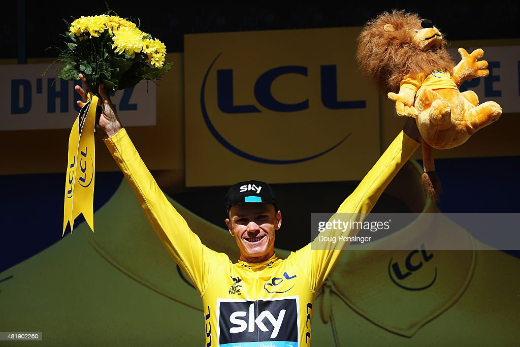 <a gi-track='captionPersonalityLinkClicked' href=/galleries/search?phrase=Chris+Froome&family=editorial&specificpeople=5428054 ng-click='$event.stopPropagation()'>Chris Froome</a> of Great Britain and Team SKY celebrates after retaining the overall leaders yellow jersey after the twentieth stage of the 2015 Tour de France, a 110.5 km stage between Modane Valfrejus and L'Alpe d'Huez on July 25, 2015 in L'Alpe d'Huez, France.