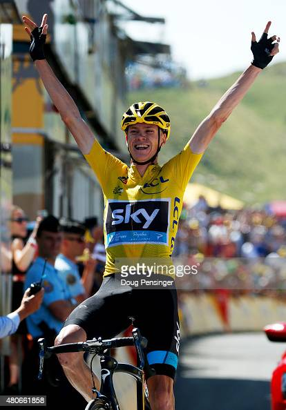 Chris Froome of Great Britain and Team Sky celebrates as he crosses the finish line to win stage ten of the 2015 Tour de France a 167 km stage...