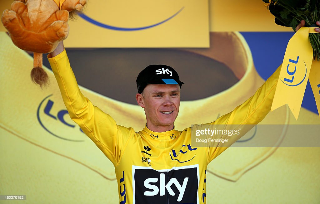 <a gi-track='captionPersonalityLinkClicked' href=/galleries/search?phrase=Chris+Froome&family=editorial&specificpeople=5428054 ng-click='$event.stopPropagation()'>Chris Froome</a> of Great Britain and Team Sky celebrates as he retains the yellow jersey following stage eight of the 2015 Tour de France, a 181.5km stage between Rennes and Mur de Bretagne on July 11, 2015 in Mur de Bretagne, France.