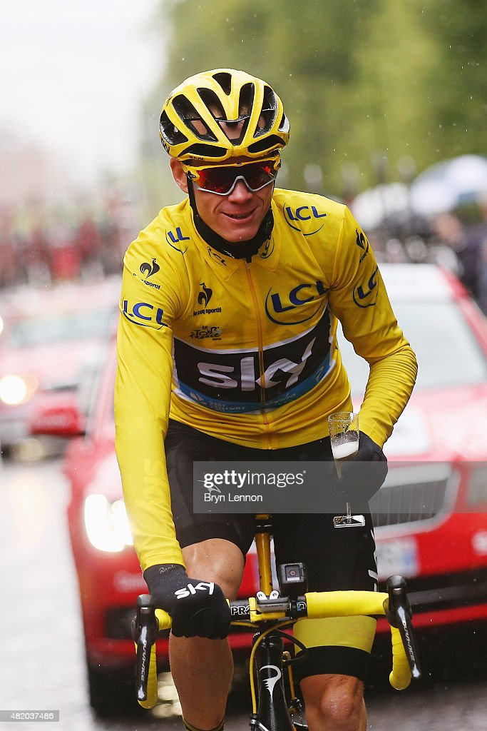 <a gi-track='captionPersonalityLinkClicked' href=/galleries/search?phrase=Chris+Froome&family=editorial&specificpeople=5428054 ng-click='$event.stopPropagation()'>Chris Froome</a> (yellow) of Great Britain and Team Sky celebrates his overall victory with a glass of champagne during the twenty first stage of the 2015 Tour de France, a 109.5 km stage between Sevres and Paris Champs-Elysees, on July 26, 2015 in Paris, France.