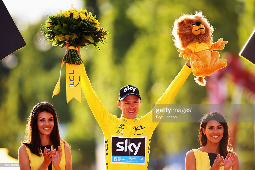 <a gi-track='captionPersonalityLinkClicked' href=/galleries/search?phrase=Chris+Froome&family=editorial&specificpeople=5428054 ng-click='$event.stopPropagation()'>Chris Froome</a> of Great Britain and Team Sky celebrates in the yellow jersey on the podium after overall win following the twenty first stage of the 2015 Tour de France, a 109.5 km stage between Sevres and Paris Champs-Elysees, on July 26, 2015 in Paris, France.