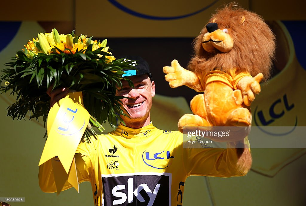 <a gi-track='captionPersonalityLinkClicked' href=/galleries/search?phrase=Chris+Froome&family=editorial&specificpeople=5428054 ng-click='$event.stopPropagation()'>Chris Froome</a> of Great Britain and Team Sky celebrates on the podium after taking possession of the yellow jersey during stage seven of the 2015 Tour de France, a 190.5km stage between Livarot and Fougeres on July 10, 2015 in Fougeres, France.