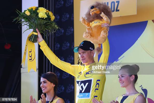 Chris Froome of Great Britain and Team Sky celebrates retaining the race leaders yellow jersey following the 160km stage15 of Le Tour de France from...