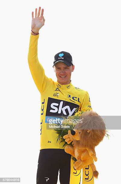 Chris Froome of Great Britain and Team Sky celebrates winning the 2016 Le Tour de France following stage twenty one of the 2016 Le Tour de France...