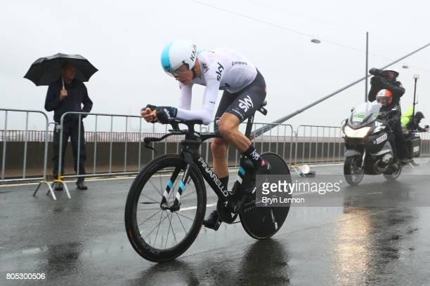 Chris Froome of Great Britain and Team Sky competes during stage one of Le Tour de France 2017 a 14km individual time trial on July 1 2017 in...