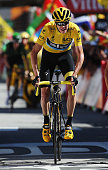 L'ALPE D'HUEZ FRANCE JULY 25 Chris Froome of Great Britain and Team Sky crosses the finish line at the end of the twentieth stage of the 2015 Tour de...