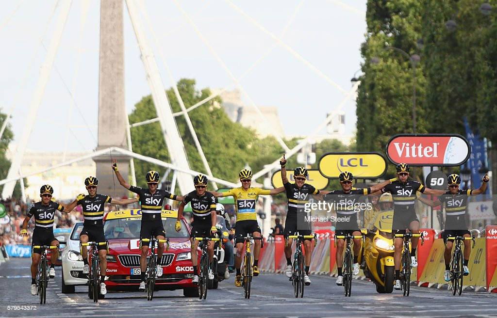 Chris Froome of Great Britain and Team Sky crosses the finishing line with the rest of Team Sky following victory during stage twenty one of the 2016 Le Tour de France, from Chantilly to Paris Champs-Elysees on July 24, 2016 in Paris, France.