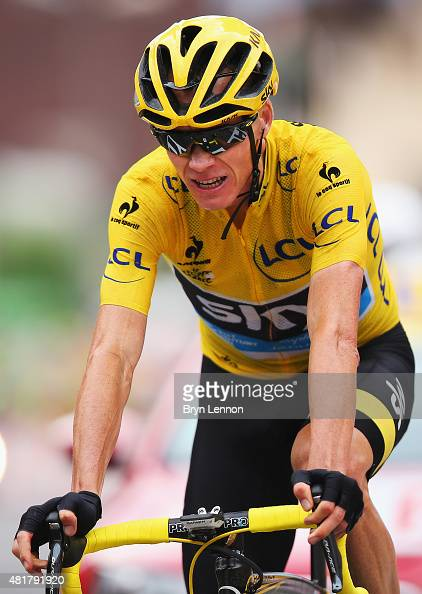 Chris Froome of Great Britain and Team SKY crosses the finishline on stage nineteen of the 2015 Tour de France a 138km stage between...