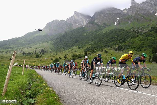 Chris Froome of Great Britain and Team Sky decends during stage twenty of the 2016 Le Tour de France from Megeve to Morzine on July 23 2016 in Megeve...