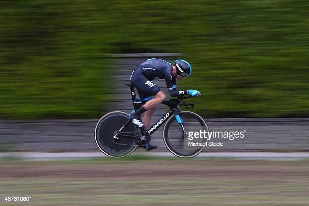 Chris Froome of Great Britain and Team Sky during the 557km Prologue stage of the Tour de Romandie on April 29 2014 in Ascona Switzerland