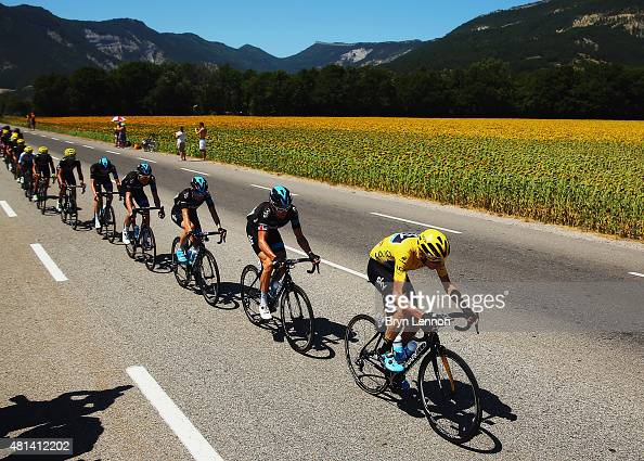 Chris Froome of Great Britain and Team Sky heads the peloton with team mates during the sixteenth stage of the 2015 Tour de France a 201km stage...