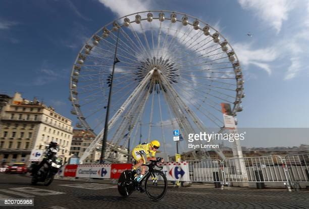 Chris Froome of Great Britain and Team Sky in action during stage twenty of Le Tour de France 2017 on July 22 2017 in Marseille France