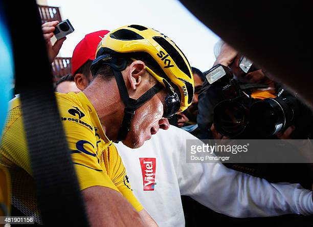 L'ALPE D'HUEZ FRANCE JULY 25 Chris Froome of Great Britain and Team Sky is surrounded by media after finishing the twentieth stage of the 2015 Tour...