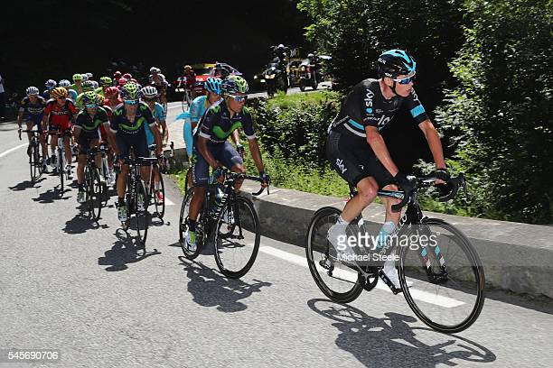 Chris Froome of Great Britain and Team Sky is tracked by Nairo Quintana of Colombia and Movistar during the 184km stage eight of Le Tour de France...