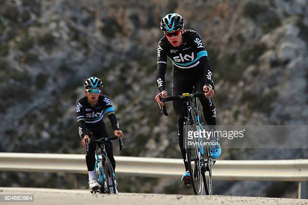 Chris Froome of Great Britain and Team Sky leads new team mate Michal Kwiatkowski of Poland up the climb of Sa Calobra during a media day at a Team...
