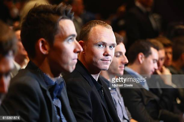 Chris Froome of Great Britain and Team Sky looks on alongside Romain Bardet of France and AG2R La Mondiale during Le Tour de France 2017 Route...