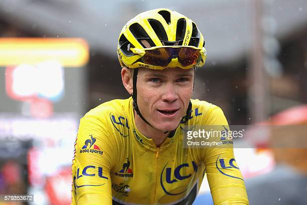 Chris Froome of Great Britain and Team Sky looks on during stage twenty of the 2016 Le Tour de France from Megeve to Morzine on July 23 2016 in...