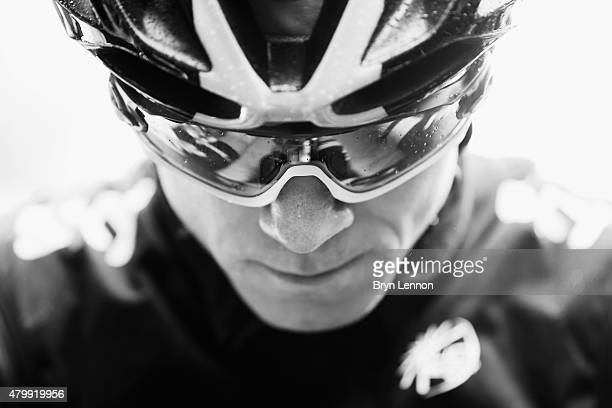 Chris Froome of Great Britain and Team Sky prepares to race during stage five of the 2015 Tour de France a 1895km stage between Arras and Amiens on...