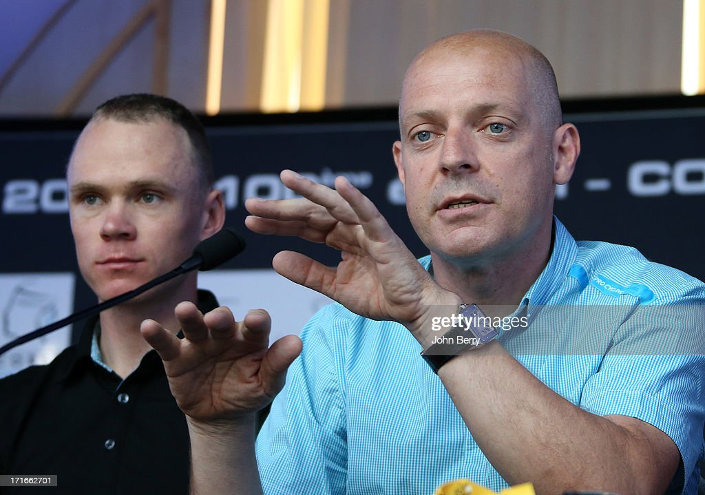 Chris Froome of Great Britain and Team Sky Pro Cycling and team manager Sir Dave Brailsford during the press day prior to the start of the Tour de France 2013 on June 27, 2013 in Porto-Vecchio, France.