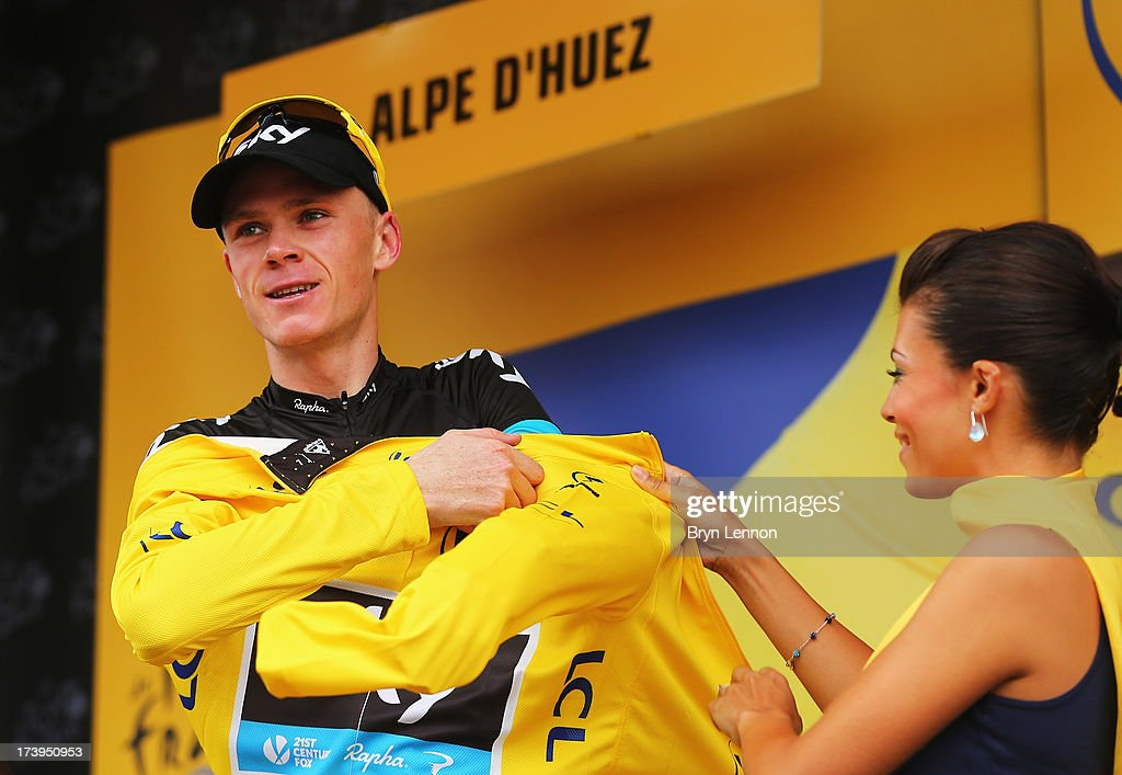 <a gi-track='captionPersonalityLinkClicked' href=/galleries/search?phrase=Chris+Froome&family=editorial&specificpeople=5428054 ng-click='$event.stopPropagation()'>Chris Froome</a> of Great Britain and Team Sky Procycling reacts on the podium as he retains the yellow jersey following stage eighteen of the 2013 Tour de France, a 172.5KM road stage from Gap to l'Alpe d'Huez, on July 18, 2013 in Alpe d'Huez, France.