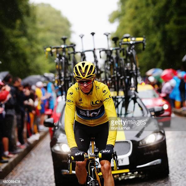 Chris Froome of Great Britain and Team Sky rides on his way to overall victory during the twenty first stage of the 2015 Tour de France a 1095 km...