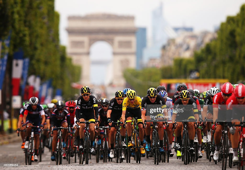 Chris Froome of Great Britain and Team Sky rides on his way to overall victory during the twenty first stage of the 2015 Tour de France, a 109.5 km stage between Sevres and Paris Champs-Elysees, on July 26, 2015 in Paris, France.