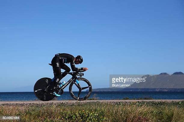 Chris Froome of Great Britain and Team Sky trains on his time tiral bike during a media day at a Team Sky Training Camp on January 12 2016 in...